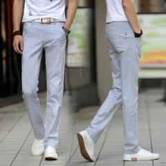 Summer thin men's casual pants men's cotton pants male elastic pants large size long straight pants blue 30