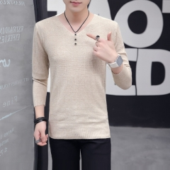 Sweater v-neck young han edition tide male personality sweaters for men Caramel color xl