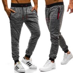 2018 new men's large size fashion tether belt casual pants pocket decorative sports pants Dark grey xl