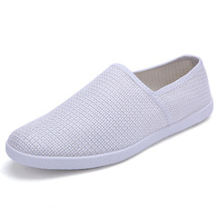 Summer white men's casual shoes driving a pedal light and breathable men's shoes mesh shoes white 43 (26.5cm)