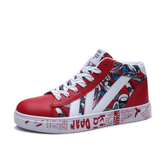 Autumn youth male shoes classic retro sports, casual shoes, male students high shoes red 43 (26.5cm)