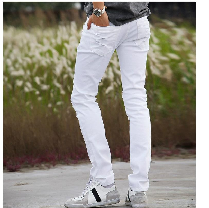 228689f2c7 2018 spring new black and white skinny jeans men's slim pencil feet ...