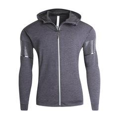 Thick zipper sweater 18 new men's hooded plus velvet quick-drying clothes sportswear Dark gray m