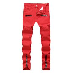 New men's high street locomotive zipper wrinkle casual denim high stretch trousers red 42