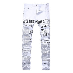 Men's White Printed Jeans Letters English Print Stretch Slim Casual Men's Trousers white 42