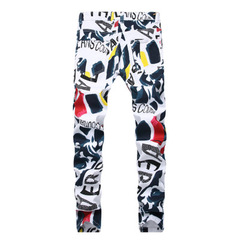 New handsome men's white printed stretch casual jeans men's trousers printing 42
