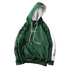 2018 new hooded sweater men's new color matching men's long-sleeved t-shirt trend jacket green l (165-170cm/55~60kg)