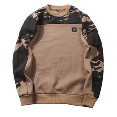 Autumn new men's large size men's casual camouflage sleeve T-shirt pullover sweater T-shirt khaki s