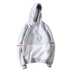 New men's sweater sports pullover stitching color hooded sweater round neck sweater gray m (165-170cm/52.5~55kg)