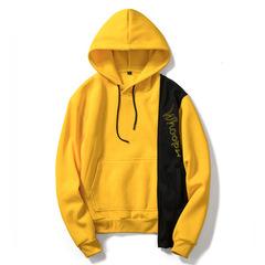 European code men's irregular hooded sweater casual loose tide shirt color matching sweater yellow s