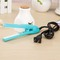Mini portable electric splint flat iron ceramic curling & straightening machine USA 220v 15x2.8cm blue 21.5×4×6