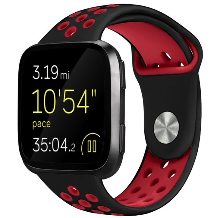 Fitbit versa silicone two-color bracelet wave point round hole breathable smart watch watch strap black+red Large size (145mm*95mm)