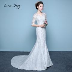 Love Story 1 Piece Wedding Half sleeve Cotton Lace Appliques Flowers Slim Waist Bride Gown s white