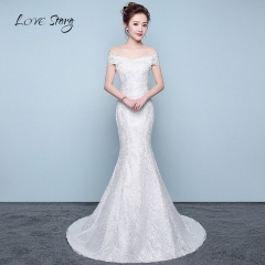 Love Story Wedding Horizontal neck​ Cotton ​Tulle ​ Sequin Lace Appliques Flowers​  Bride Gown s white