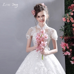 Love Story 1 Piece Wedding Dresses Lace Bubble Sleeve Fairy Temperament  Bride Gown s white