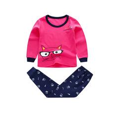 Children's pajamas for autumn and winter white 140 pure cotton