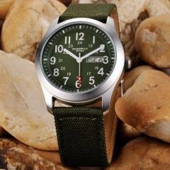 Men Watches Fashion Casual Quartz Nylon Watch Sports Leather Curren Canvas Business Watch For Men Green Universal