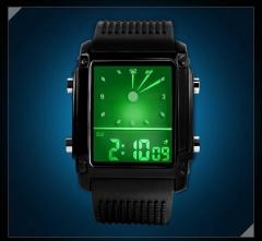 2019 Fashion watches men sports watch led dual time digital date lights casual curren da black (30m Waterproof) universal