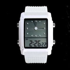 2019 Fashion watches men sports watch led dual time digital date lights casual curren da white (10m Waterproof) universal