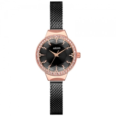 Women Watches in Retro Style Set With Zircon Jewellery Alloy Narrow Band  Wrist Watch Ladies black