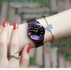 Watch Ladies Women in Retro Style Set With Zircon Jewellery Alloy Narrow Band Wrist Watch Diamond purple middle