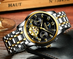 Men Watches Stainless Steel Business Mechanical Watch Tourbillon Skeleton Multifunctional Wristwatch gold black middle