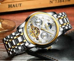 Men Watches Stainless Steel Business Mechanical Watch Tourbillon Skeleton Multifunctional Wristwatch gold white middle