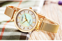 Women watches classic Luxury Stainless Steel Mother of Pearl milanese Vintage Ultrathin Watch Ladies gold middle