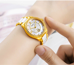 Watch Womens Calendar Watch Women Golden Rhinestone Lady Gold Plating Luxurious Ceramics Ladies gold middle