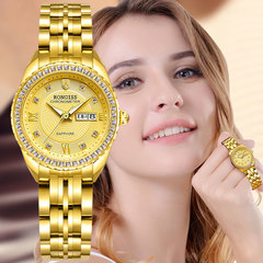 Women Watches Gold Calendar Rhinestone Quartz Watch Ladies Business Luxury Stainless Steel Band gold middle