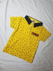 2018 boys cotton solid color short sleeve children's leaf printed short sleeve T-shirt popl shirt yellow 1y 100% cotton