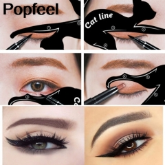 Cute Cat Eyshadow Eyeliner Stencil Kit for Eyebrows Guide Template Maquiagem Eye Shadow Frames white