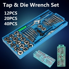12/20/40Pcs Metric Tap Wrench and Die Pro Set M6-M12/M3-M12 Nut Bolt Alloy Metal Hand Tools As Picture 12pc