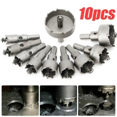 10 16-50mm HSS hole saw set carbide tip TCT bit hole saw for metal alloy stainless steel yellow