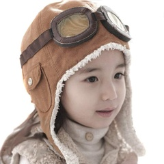 Pilot wool warm hat with earmuffs children's stylus boy winter warm hat hat peas pilot Brown 1