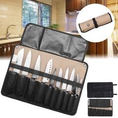 Chef knife bag roll bag portable bag kitchen portable storage shop 10 knives (without knife) black