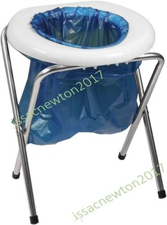 Portable Toilet Seat Camping Commode Bags Folding Outdoor Travel Emergency RV White and blue
