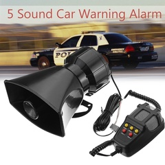 100W DC 12V car warning alarm 5 loud siren horn PA speaker with microphone black 1