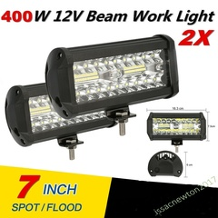 2x 400W 7''Car LED Work Light Bar Spot Flood Beams Combo For Off-road SUV Truck black 2Pcs