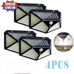 2/4Pcs 100 LED Solar Power PIR Motion Sensor Wall Light Outdoor Garden Lamp Waterproof# black 1pcs 100led