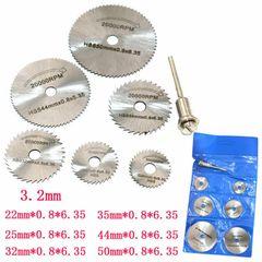 2/6/7Pcs Circular Saw Disc Set Dremel Accessory Mini Drill Rotary Tool Wood Cutting Blade silver white,6Pcs Set (no 50mm Dis )