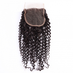 Top 8A Grade Brazilian Virgin Remy 4x4 Lace Closure curly Free Part/Middle Part Natural Black natural black 10 inch