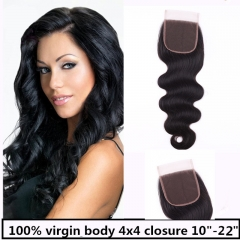Top 8A Grade Brazilian Virgin Remy 4x4 Lace Closure body Free Part/Middle Part Natural Black natural black 12 inch