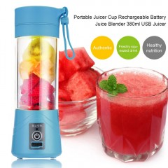 New 380ml USB Juicer Cup Rechargeable Juice Blender Mini Portable USB Juicer For Vegetables Fruit blue