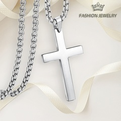 NJ Cross Necklace and pendant Stainless Steel Gold or Silver Pendant Necklace for Female and Male Silver one size