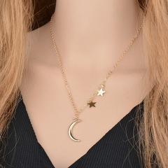 NJ Simple Star & Moon Pendant Necklace For Women New Clavicle Necklaces Charm Fashion Jewelry gold 1 Pc