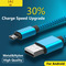 NJ Micro USB Cable 2A Fast Charging Nylon USB Sync Data Mobile Phone Android Adapter Charger Cable Blue 1pcs/1M