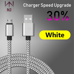 NJ Micro USB Cable 2A Fast Charging Nylon USB Sync Data Mobile Phone Android Adapter Charger Cable white 1pcs/1M