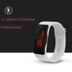 NJ Mens Womens Rubber LED Watch Sports Bracelet Digital Wrist Watch Watches Christmas Gifts White 1 Pc