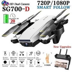 Newest Upgrades SG700-D RC Drone With Camera HD Flow Dual Remote Control Helicopter RC Quadcopter White SG700-D With Camera Drone